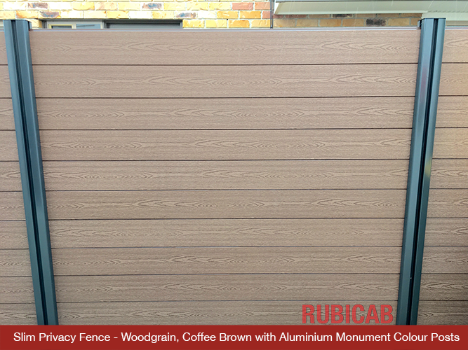Slim Privacy Woodgrain Finish Fence