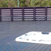 Outdoor Spa built in our elevated Charcoal Composite Deck-mod
